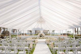 seating-in-the-round-for-outdoor-tented-wedding-ceremony-huntington-beach-california-flowers