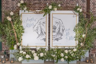 diptych-of-bride-and-grooms-dog-with-wedding-hashtag-and-hugs-and-kisses-for-the-mr-mrs