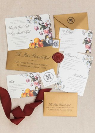 flower-fruit-invitation-suite-florida-wedding-bride-groom-calligraphy-ribbon-gold-red-pictures
