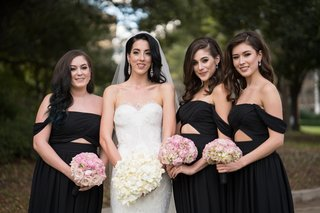 bride-in-nardos-designs-gown-bridesmaids-in-black-fame-partner-off-the-shoulder-gowns-with-cutout