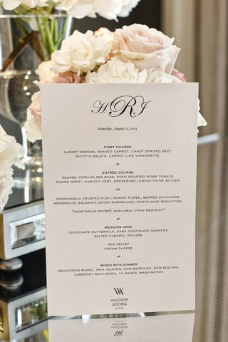 wedding-dinner-menu-for-waldorf-astoria-chicago-wedding-with-monogram
