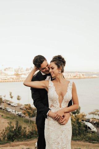 bride-in-low-plunging-neckline-gown-hair-up-updo-puget-sound-wedding-seattle-destination