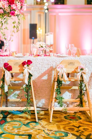 wedding-reception-vow-renewal-highchairs-for-little-young-guests-decorated-with-greenery-and-roses