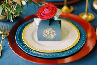 beauty-beast-movie-styled-wedding-shoot-navy-gold-gift-box-initials-colorful-fairy-tale-chargers