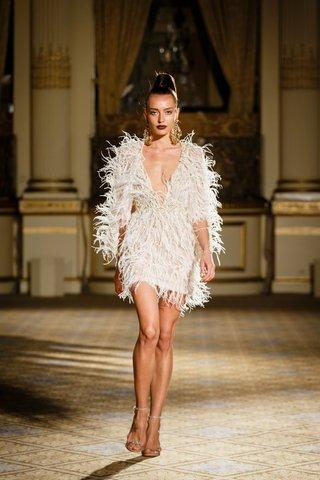 berta-spring-summer-2018-cocktail-length-dresses-deep-v-neckline-feather-details-embellishments