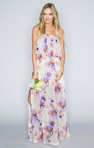 strapless-dress-in-purple-and-pink-watercolor-flower-print