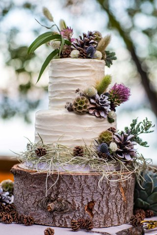 carrot-cake-with-cream-cheese-frosting-on-a-tree-trunk-slab-decorated-with-wildflowers-pinecones