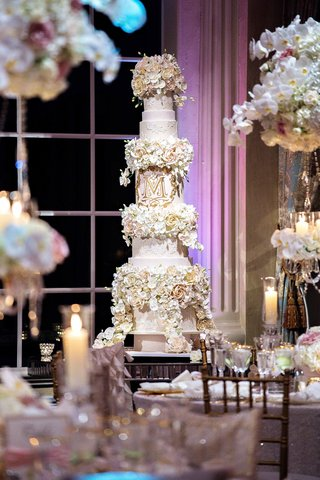 tall-wedding-cake-with-lace-details-sugar-flower-tiers-gold-monogram-tracy-morgan-wedding