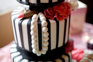 black-and-white-striped-cake-with-pearls-and-lipstick