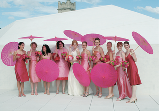 bride-with-bridesmaids-in-mismatched-gowns