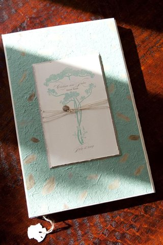 turquoise-handmade-paper-guestbook-with-art-nouveau-design