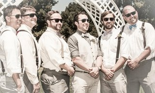 casual-groomsmen-in-suspenders-and-bow-ties