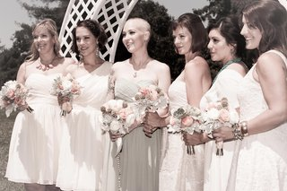 bride-with-bridesmaids-in-short-white-dresses
