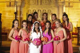 african-american-bridesmaids-and-hot-pink-maid-of-honor-dress