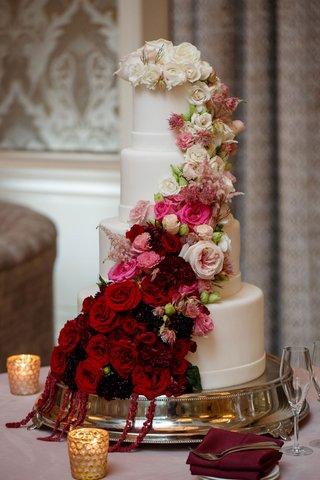 wedding-reception-cake-ideas-white-fondant-design-ombre-cake-burgundy-to-pink-to-white-fresh-flowers