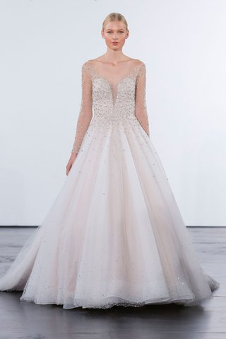 dennis-basso-for-kleinfeld-2018-collection-wedding-dress-illusion-long-sleeve-a-line-gown-beading