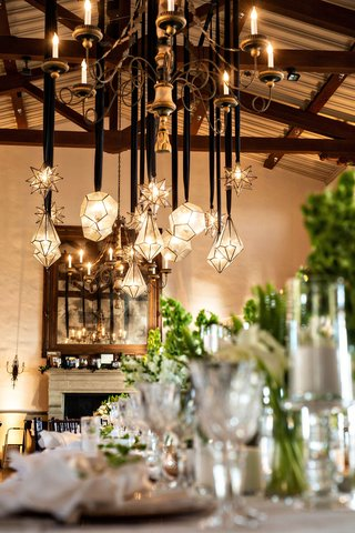 wedding-reception-bel-air-bay-club-fireplace-pendant-lighting-star-and-diamond-shapes-geometric