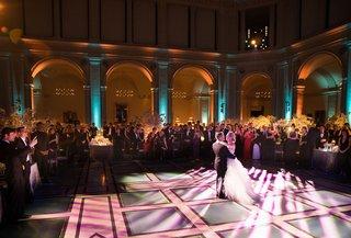 wedding-reception-bride-and-groom-dancing-first-dance-dance-floor-brooklyn-museum