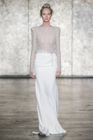 inbal-dror-fall-2018-fully-beaded-long-sleeve-jewel-neck-top-with-side-drape-back-slit-skirt