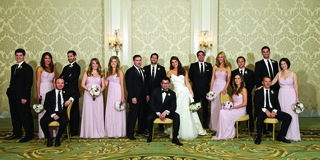 bridesmaids-in-pink-dresses-and-groomsmen