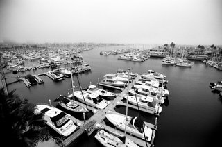 black-and-white-photo-of-docked-boats