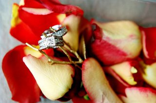engagement-ring-and-wedding-band-on-rose-petals