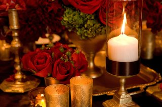 gold-leaf-candle-holders-and-burgundy-roses