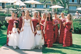 strapless-red-bridesmaid-gowns-with-tiered-skirts-and-white-flower-girl-dresses