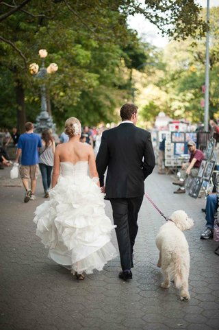 bride-and-groom-walk-dog-in-central-park
