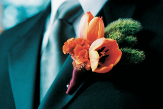 boutonniere-of-orange-tulips-with-green-succulents