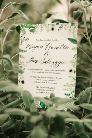 wedding-invitation-green-white-flower-foliage-design-modern-calligraphy-watercolor-anemone-flowers