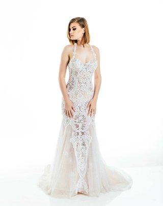 olia-zavozina-fall-2017-bridal-collection-cj-lana-perry-wedding-dress-halter-mermaid-skirt-lace