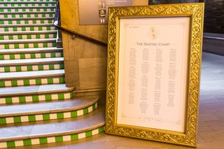 wedding-reception-art-institute-of-chicago-stairs-stripes-wth-gold-frame-seating-chart