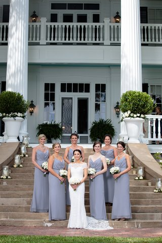 bride-in-lace-off-the-shoulder-anna-maier-and-bridesmaids-in-grey-jim-hjelm