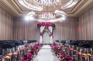 elegant-las-vegas-wedding-ceremony-fuchsia-flowers-mirrored-details-floating-candles-grey-chairs