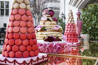 tree-of-pink-macarons-and-naked-cake-on-table