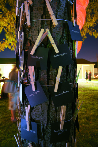 black-and-white-escort-cards-on-clothespin-tree