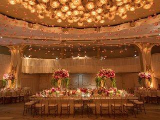 wedding-reception-at-the-beverly-hills-hotel-ballroom-crystal-chandelier-with-pink-roses-hanging