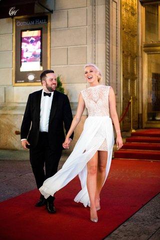 bride-in-sleeveless-julie-vino-wedding-dress-groom-in-tuxedo-bow-tie-new-york-city-wedding
