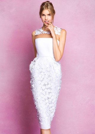 angel-sanchez-fall-2016-short-wedding-dress-with-flowers-on-skirt-and-illusion-neckline
