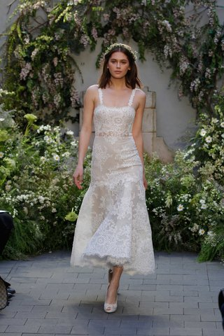 monique-lhuillier-spring-2017-shannon-short-midi-length-wedding-dress-with-straps-in-lace-high-low