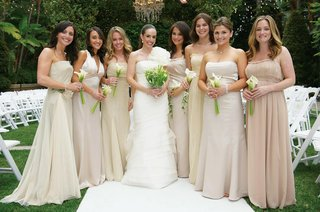 gold-and-champagne-colored-bridesmaid-dresses