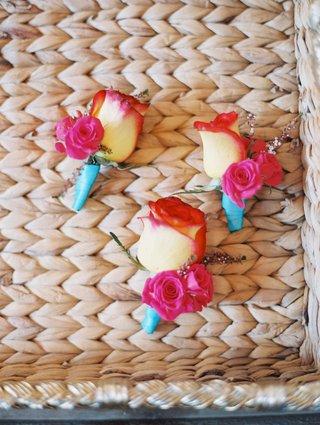 beach-wedding-cj-perry-miroslav-barnyashev-turquoise-ribbon-boutonniere-for-groomsmen