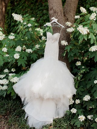 eve-of-milady-wedding-dress-on-tree-trunk-custom-hanger-tight-bodice-drop-waist-large-tulle-skirt