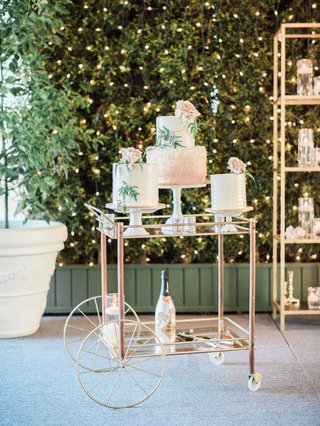wedding-cakes-on-pedestal-bar-cart-champagne-hedge-wall-string-lights