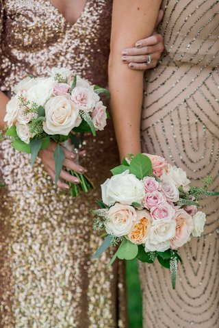 wedding-bouquets-bridesmaid-bouquet-nosegay-posy-pink-white-orange-rose-garden-rose-flowers