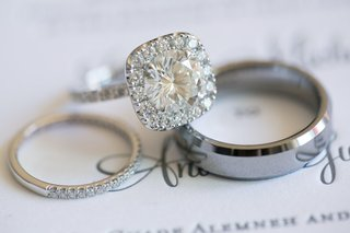 halo-engagement-ring-two-wedding-bands-jewelry-sophisticated-classic-pieces-lovely-couple-love
