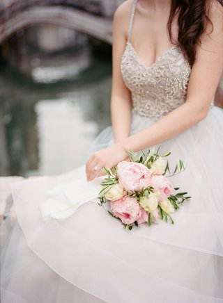 wedding-bouquet-for-destination-elopement-hayley-paige-dress-pink-peony-flower-and-ivory-rose
