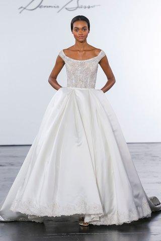 dennis-basso-for-kleinfeld-2018-collection-wedding-dress-off-shoulder-ball-gown-pockets-scoop-neck