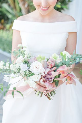 the-confused-millennial-bride-wedding-shoot-in-off-shoulder-ball-gown-dress-with-small-wide-bouquet